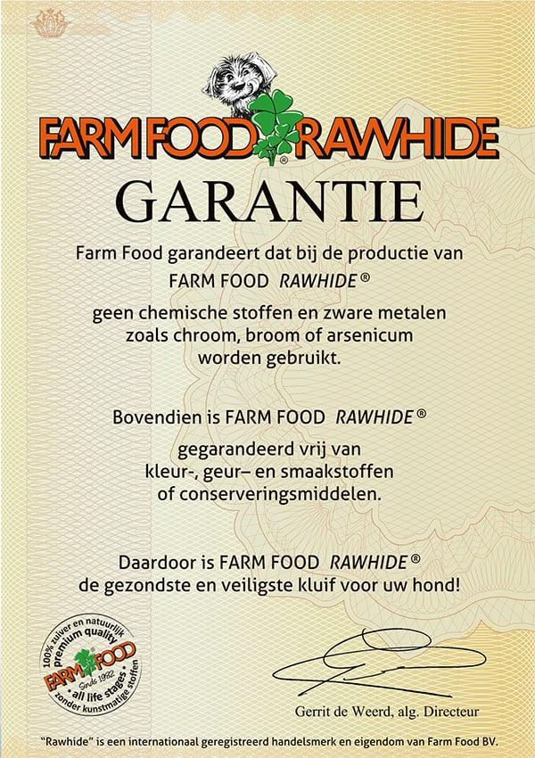 Garantie certificaat Farm Food Rawhide