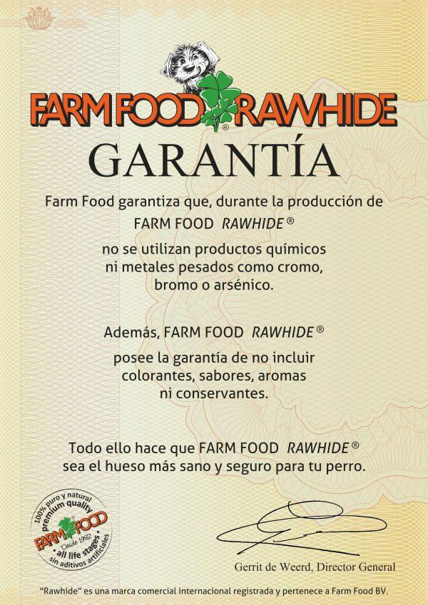Certificado de garantía Farm Food Rawhide