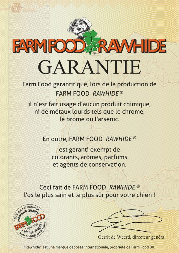 Certificat de garantie Farm Food Rawhide
